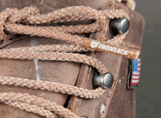 Ironlace Ironlace Unbreakable brown round Unbreakable Boot Laces with USA Flag on leather boots